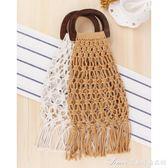 新款木柄手提網兜草編包棉繩手工編織包森繫沙灘女包艾美時尚衣櫥