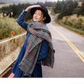 《ZC1716》英倫紅黑格紋流蘇圍巾/披肩 OrangeBear