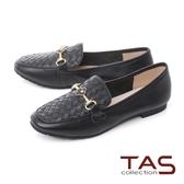 TAS金屬一字小花飾釦牛皮平底鞋-人氣黑