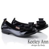 2019春夏_Keeley Ann慵懶盛夏 緞帶造型全真皮柔軟包鞋(黑色)