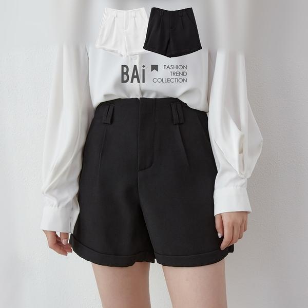 純色斜紋面高腰反摺短褲M-L號-BAi白媽媽【310183】