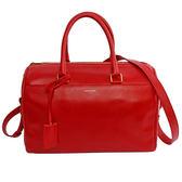 【YSL】莓紅色 滑面牛皮 手提 斜背 二用波士頓包 322049 BOF0J 6416