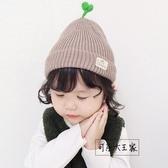 兒童帽子 嬰兒帽子1-2卡通豆芽套頭帽韓版秋冬保暖寶寶針織毛線
