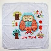 【愛的世界】貓頭鷹兩用式毛毯三角帽抱巾-藍/90*90CM  ---用品推薦