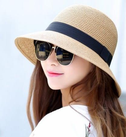 [協貿國際]  女士爵士帽可折疊沙灘遮陽防曬草帽 (1入)