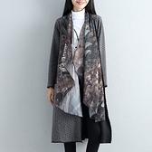 現貨灰L實拍文藝風衣外套長款秋冬裝長袖假兩件寬松外搭大衣開衫25647