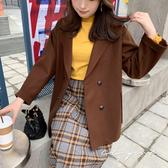 中大尺碼  毛呢排釦西裝領外套 -共 2 色- 適XL~4L《 79169 》CC-GIRL