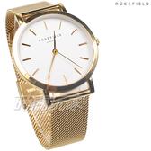 ROSEFIELD 歐風美學 時尚簡約 圓形 米蘭帶 不銹鋼 女錶 防水手錶 金x白 MWG-M41
