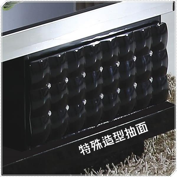【水晶晶家具/傢俱首選】波鑽130cm鋼烤黑強玻雙抽大茶几 JF8273-1