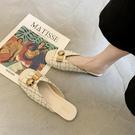 小香風包頭半拖鞋女外穿夏時尚2020新款網紅平底懶人鞋百搭穆勒鞋