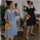 初心 娃娃領 繡花 【D3403】 韓系 刺繡 雪紡 洋裝 短袖 拼接 質感 洋裝