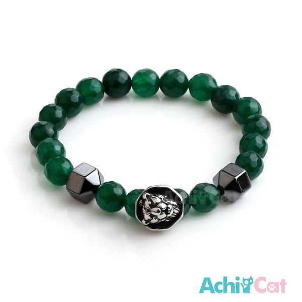 AchiCat 手鍊 串珠手鍊 虎膽龍威 黑膽石 瑪瑙手鍊 獅頭手鍊 珠珠彈性手環 C款 H8069