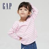 Gap女幼童 純棉舒適花邊領口長袖T恤 966050-粉色條紋