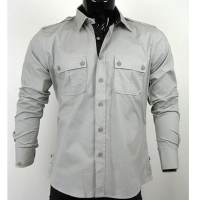 『摩達客』美國進口【Born Sinners】 401K時尚淡灰長袖襯衫(10212071001)