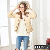 【JEEP】女裝 保暖百搭連帽羽絨外套 (淺卡其)
