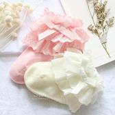 棉感雙層蕾絲花邊寶寶短筒襪 襪子 寶寶襪 嬰兒襪