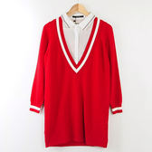 【MASTINA】學士風假兩件襯衫-紅 冬末好康