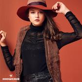【SHOWCASE】高領典雅玫瑰微透膚蕾絲袖褶上衣(黑)