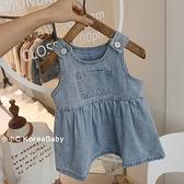 韓國嬰童裝水洗牛仔背心裙!2021春裝新款女童寶寶簡約洋裝子 幸福第一站