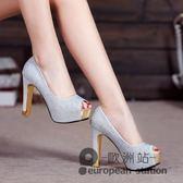 魚口高跟鞋/春季新款粗跟單鞋防水台女鞋水鉆職業工作鞋婚鞋「歐洲站」