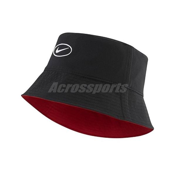Nike 帽子 NSW Bucket Swoosh Cap 黑 紅 女款 漁夫帽 雙面設計 【ACS】 CI3616-011