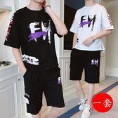 工裝套裝男潮流學生短袖短褲一套衣服夏季薄款寬鬆網紅兩件套T恤 QG28460『bad boy時尚』