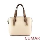 CUMAR 經典素色多夾層手提斜背包-白...