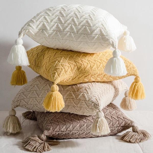 北歐ins風抱枕套床頭靠枕腰枕樣板房客廳沙發流蘇抱枕靠墊可拆洗 滿天星