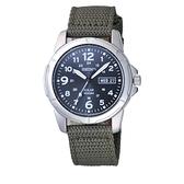 SEIKO 軍風生活太陽能腕錶-銀黑X軍綠
