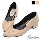 尖頭鞋 兩穿壓摺設計中跟鞋-米...