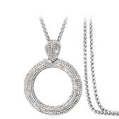 鑲鑽項鍊-鏤空圓型生日情人節禮物女毛衣鍊2色73fv117【時尚巴黎】