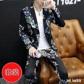 西服套裝男士韓版個性夜店DJ演出服一套裝理發型師潮流帥氣花西裝 QG14396『Bad boy時尚』
