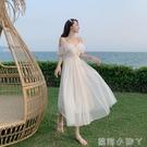 吊帶洋裝超仙森系沙灘裙夏海邊三亞度假網紗裙露肩顯瘦仙女長裙 蘿莉新品