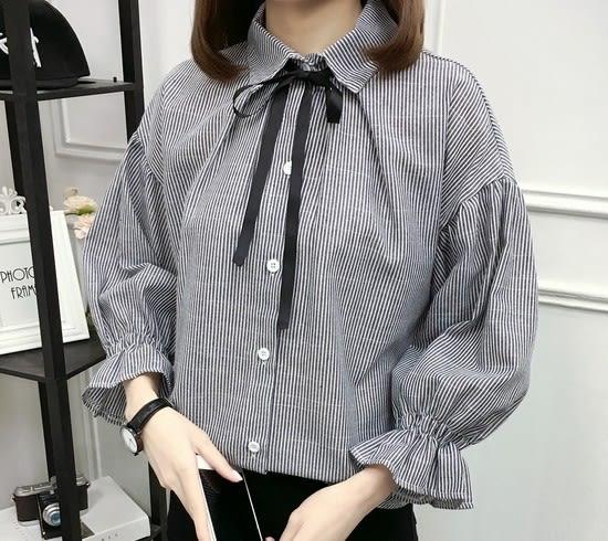 EASON SHOP(GU5335)綁帶子領帶條紋長袖襯衫喇叭袖縮口內搭衫女上衣服素色白棉T春夏裝韓版寬鬆