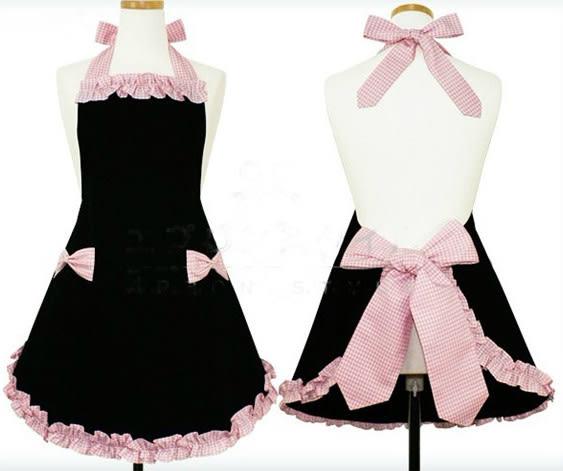 時尚韓版 圍裙  粉色格子 可愛公主女仆 限時八八折