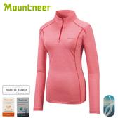 【Mountneer 山林 女 膠原蛋白長袖排汗衣《玫紅》】31P66/春夏款/薄長袖/排汗衣