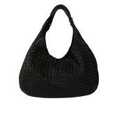 【BV/ BOTTEGA VENETA】雙肩帶編織小羊皮HOBO 肩背包(黑色)124864 V0016 1000