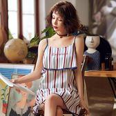 英策夏季新款純棉女士睡衣無袖性感吊帶條紋中短睡裙梭織棉家居服