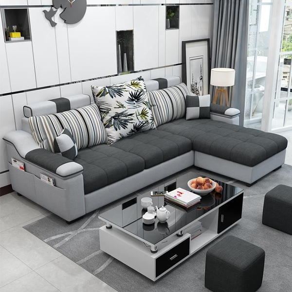 布藝沙發小戶型三人客廳整裝組合家具轉角北歐簡約現代出租房套裝 後街五號