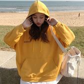 EASON SHOP(GU8107)韓版假兩件英文字母大口袋圓領長袖連帽T恤女上衣服寬鬆長版素色棉T恤OVERSIZE