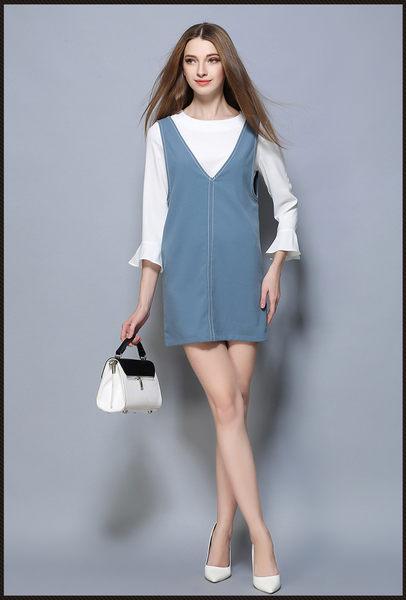 (現貨RN-girls)-休閒風雪紡荷葉袖上衣+背心裙兩件式套裝