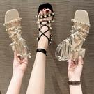 羅馬鞋 綁帶粗跟涼鞋女中跟2021新款系帶羅馬女鞋夏季百搭仙女露趾高跟鞋 夢藝家