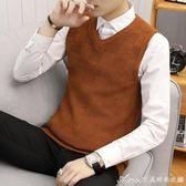 針織馬甲男韓版修身休閒毛線背心男士V領套頭坎肩無袖毛衣打底衫 艾美時尚衣櫥