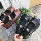 豆豆鞋 大頭鞋女韓版學生原宿韓國娃娃復古可愛圓頭皮帶扣ulzzang小皮鞋 阿薩布魯