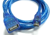 [富廉網] UB-414 USB2.0 A母對Micro B公透明藍訊號線 60公分