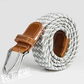 皮帶/腰帶 男士美式生活氣質懶人無需打孔款時尚皮帶腰帶編織百搭工裝腰帶 限時8折