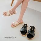 MIUSTAR 粗細雙線X交叉兩穿皮質涼拖鞋(共2色,23-25)【NJ1184ZP】預購