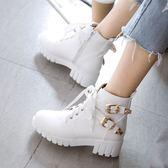 中大尺碼女鞋 秋冬粗跟防滑厚底短靴學院風甜美可愛系帶馬丁靴