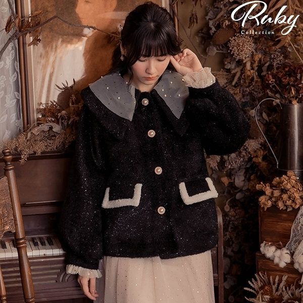 外套 蕾絲娃娃領亮蔥絨毛外套-Ruby s 露比午茶