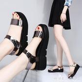 厚底涼鞋女夏學生百搭女鞋中跟鬆糕鞋韓版平跟平底增高鞋 科炫數位